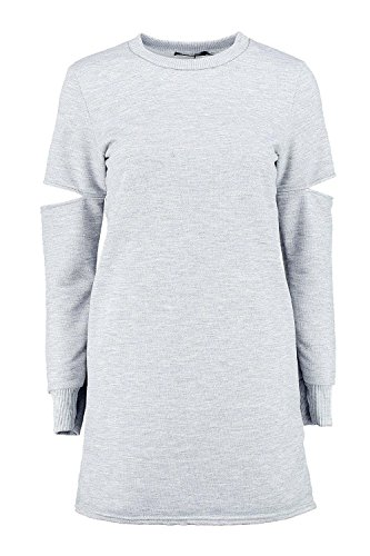 Gris Femmes Charly Coupe Out Manche Sweat Robe Gris