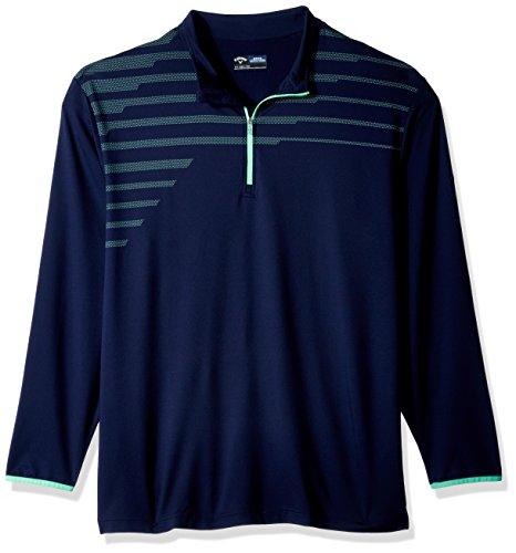 Callaway Herren Big & Tall Opti-Therm Long Sleeve 1/4Zip Chest Print Knit Jacket, Herren, Peacoat Links Windshirt