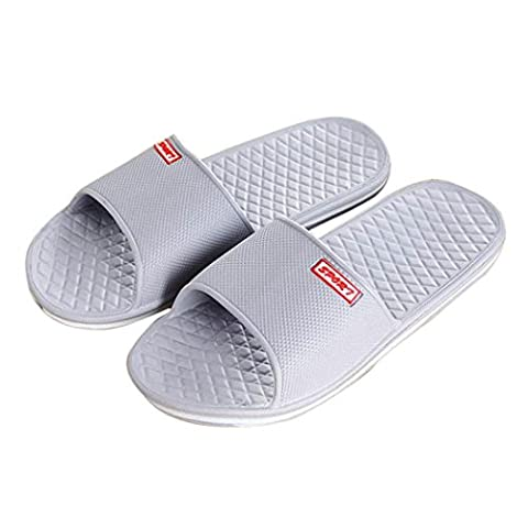 OverDose Men's Slippers Solid Flat Bath Open Toe Sandals (UK 8, Gray)