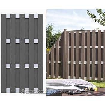 lamellenzaun jumbo wpc anthrazit 179x179cm sichtschutz sichtschutz elemente. Black Bedroom Furniture Sets. Home Design Ideas