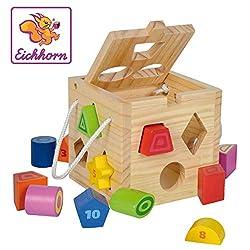 Eichhorn 100002092 - Steckwürfel aus Holz, 13-teilig, Holz natur/bunt. 14,5 x 14,5 x 14,5 cm, Spielwürfel - Motorik