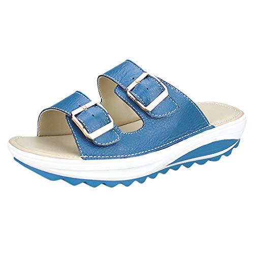 Blaue Blume-clogs (Plot Pantoletten Damen Sommer Bequeme Sandalen mit Keilabsatz Sandalette Einfarbig rutschfest Slipper Strand Schuhe Badeschuhe)