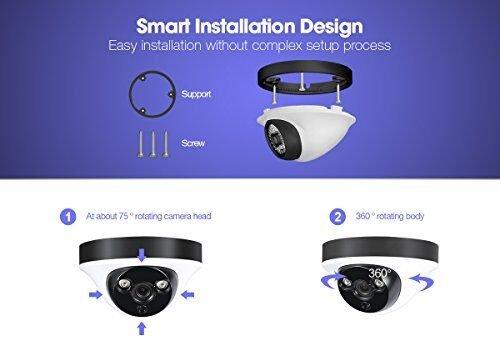 1080P Überwachungskamera System H.View Security System 8CH AHD DVR ohne Festplatte und 8 Außen 1080P Dome Überwachungskamera Set für Innen und Außen Bewegungsmelder IR Nachtsicht