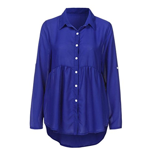 Tonsee® Femmes Plus Grande Taille Solide Manches Longues Casual Chiffon Dames OL Travail Top t Shirt Bleu