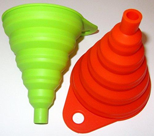 Silikon Falttrichter 4 Farben 1 Trichter Set = 2 Stück der Kleine ist 8cm flexibel und platzsparend verstaubar für Küche & Heimwerken (Orange / Grün) - 4