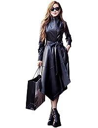 Leona-de Damen winterjacke Mode lange schlanke Mädchen Leder-Trenchcoat aus  Leder e43e82d323
