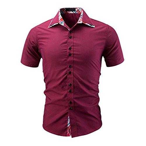 VEMOW Sommer Männer T-Shirt der Mode Einfarbig Männlichen Casual Dily Party Business Arbeit Kurzarm-Shirt Pullover Tops Pulli Tees(Rot, EU-50/CN-M)