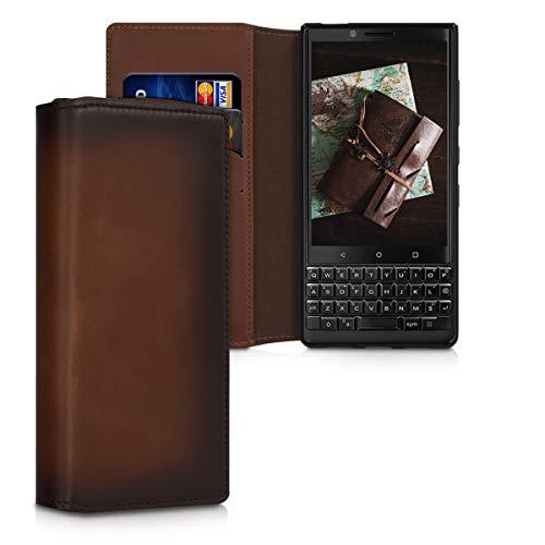 kalibri BlackBerry KEYtwo (Key2) Hülle - aus edlem Leder - mit Kartenfächern & Stand - Case für BlackBerry KEYtwo (Key2)
