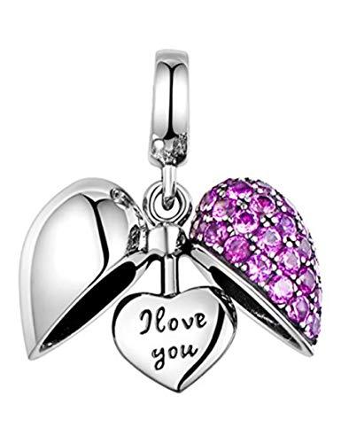 LSDesigns I Love You Corazon Charm de S925 Plata de Ley para Brazalete Mujer Pandora en una Caja de Regalo - Cristales Violeta