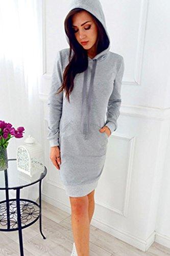 Les Femmes Monocolor Manche Longue Robe Automne Ruban À Capuche Sweat Grey