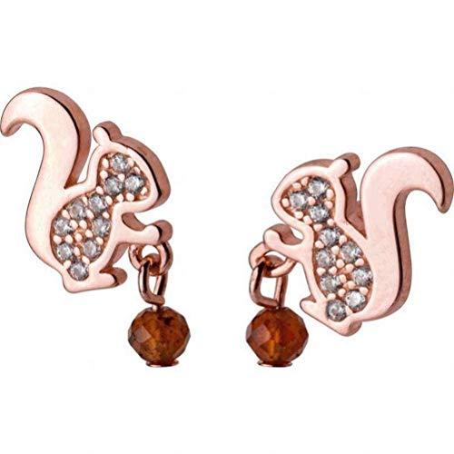 H-E Ohrring Dangler Eardrop Bolzenohrring S925 Silber Ohrringe Weiblichen Stil Mode Diamant Kleine Eichhörnchen Ohrringe Persönlichkeit Tier Ohrschmuck für Frauen, Rotgold, 925 Silber