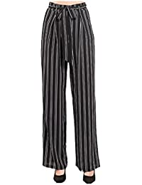 Infispace Women's Cotton High Waisted Striped Palazzos (SHAD33-125, White and Black, Free Size)