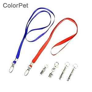 colorpet Sifflet de dressage pour chien spécialement pour dogs- son ultrasonique, facile à utiliser, livré avec cordon et led-training, Correction et l'enseignement fins
