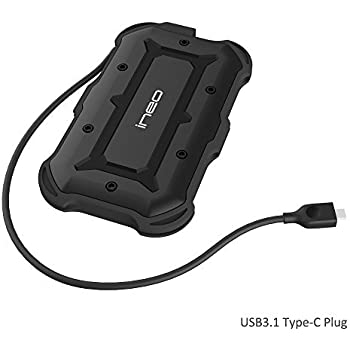Rugged Armor USB 3.1 Gen1 Type C Carcasa para Disco Duro Externo de 2.5 - ElecGear Protectora IPX6 Impermeable Alojamiento Caja con SATA HDD SSD, ...