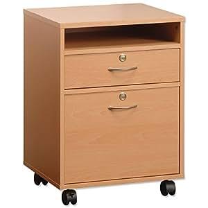 Caisson verrouillable meuble de rangement de bureau en bois de hêtre