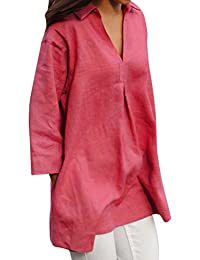 new style 0399d 276df Amazon.it: camicia lino - Rosa / Donna: Abbigliamento