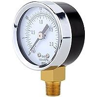 "KKmoon 0~30 psi 0~2bar 40mm 1/8""BSPT Mini aire compresor medidor hidráulico manómetro Gage manómetro doble escala del Dial"