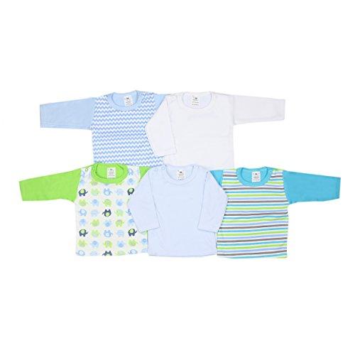 Baby Langarmshirt Mädchen Shirt Langarm 100% Baumwolle Jungen T-Shirt Unifarben Gemustert im 5er Pack, Farbe: Junge, Größe: 74