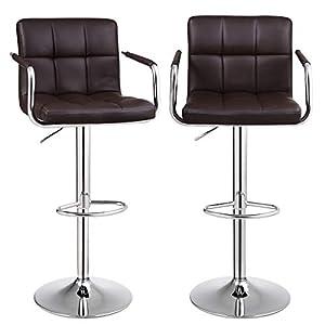 SONGMICS Barhocker 2er Set, höhenverstellbare Barstühle, Barstuhl mit PU-Bezug, 360° Drehstuhl, Küchenstühle mit Armlehnen, Rückenlehne und Fußstütze, verchromter Stahl, braun, LJB93BR