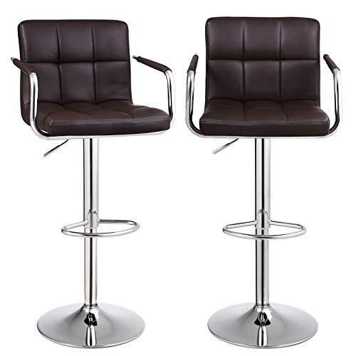 SONGMICS Barhocker 2er Set, höhenverstellbare Barstühle, 360° Drehstuhl, Küchenstühle mit Armlehnen, Rückenlehne und Fußstütze, verchromter Stahl (Braun, PU)