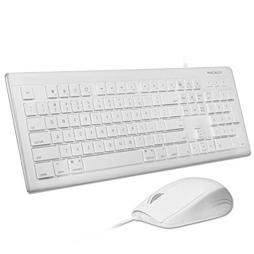 Macally 104USB Wired Keyboard mit Apple Tastenkombinationen und 3Tasten optische USB-Maus Combo für Mac und Windows PC (mkeyecombo) weiß weiß