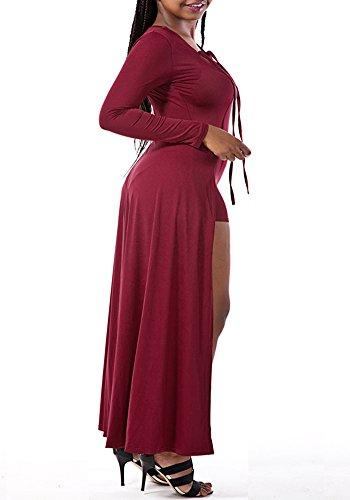 Femme Longue Robe Casuelle Robe de Soirée Cocktail Demoiselle Bal Cérémonie Vin Rouge