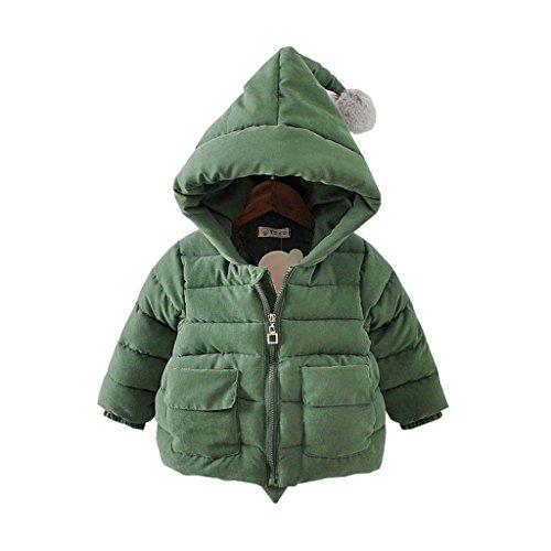 Baby Kinder Junge Mädchen Daunenmantel Daunenjacken Unisex Kinder Herbst Winterjacke Kapuzenmantel Trenchcoat Warm Kinder Kleidung (Grün, (Höhe78CM-84CM) Etikett 90)