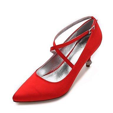 DESY Damen Hochzeit Schuhe Komfort D'Orsay und Zweiteiler Pumps Satin Frühling Sommer Hochzeit Kleid Party & FestivitätStrass Glitter , red , 39