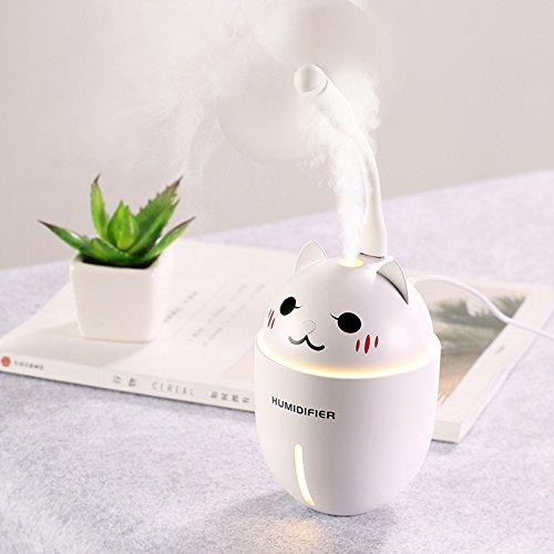KITCHEN TOOLS USB Mini Humidificador Cat Car Home Silent 7 Colores luz Blanca,protección de la escasez de Agua