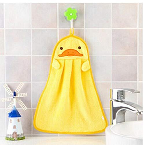 Zonster 1PC del Fumetto in Microfibra Mano tovagliolo Asciutto per i Bambini Morbido Peluche Tessuto Assorbente Hang Asciugamani, per la Cucina/Bagno, Giallo
