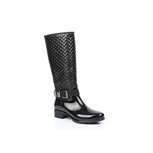 Ideal Shoes–Gummistiefel, teilweise gesteppte und mit Schnalle Maelle Schwarz - Schwarz