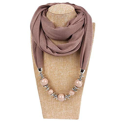 Kofun Women Scarf, Womens Neckerchief Ring Scarf Necklaces Beads Scialle di Gioielli in Tinta Unita Kaki Scuro