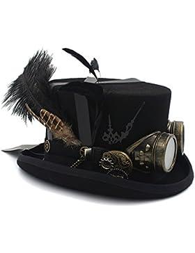 Unisex de lana DIY Fedora Steampunk Sombrero de copa sombrerería Steampunk gafas para mujeres hombres QianHaoQJu...