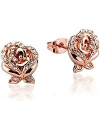 Disney Couture Die Schöne und das Biest Rosen-Ohrringe, vergoldet, Kristall