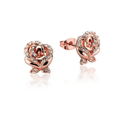 Diseño de Disney de la Bella y la bestia Pendientes en forma de rosa bañado en oro rosa con cristales