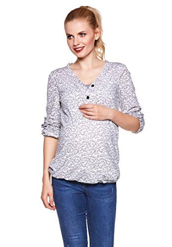 Flora-muster (Be! Mama Umstandsshirt, Stillshirt mit Gummibund unten, Modell: FLORA, weiss mit Muster, SM)
