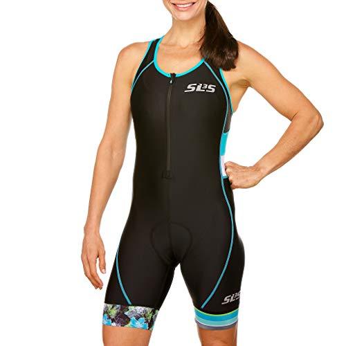 SLS3 Triathlon Einteiler Damen | FX Trisuit | Frauen Anzug | Womens Trisuit | Front Reißverschluss | Frauen Tri Suit 2019 (Black/Martinica Blue, M)