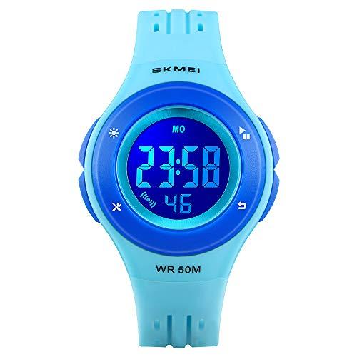 Reloj para niños, Reloj Digital LED CestMall con Alarma, Reloj Deportivo Resistente al Agua de 50 m...