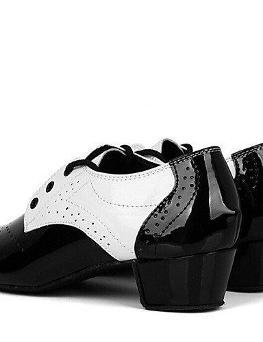 shangyi pas personnalisables–Paragraphe cubaine–Cuir synthétique–Latin/Standard Chaussures de danse–Enfants - black and white
