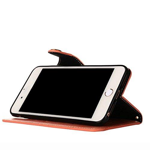 Cover iPhone 8 Plus Custodia, Ougger Tessuto Stile Portafoglio PU Pelle Magnetico Morbido Silicone Flip Cover Bumper Protettivo Gomma Borsa Custodie per Apple iPhone 8 Plus con il titolare della Carta Rose