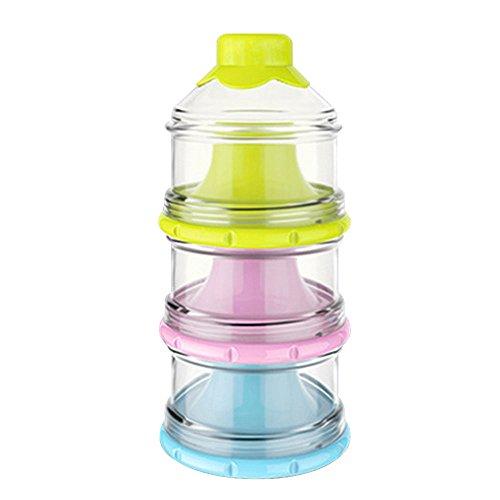 Amaoma Milchpulver Box, 3 Schichten Große Kapazität Portabel Milchpulver Portionierer, Nahrungsergänzungsmittel für Kinder Candy Box, BPA-frei, Travel Essential (Rosa + Gelb + Blau) (Milchpulver-box)