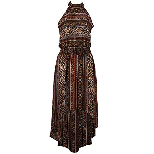 Frauenkleid Floral Vintage High Low Split Neckholder Ärmelloses Swing-Kleid Damen (Farbe : Braun, Size : L) Neckholder Swing