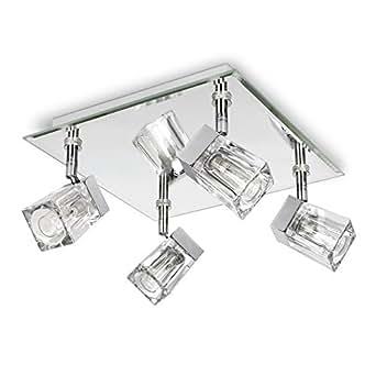 MiniSun Plafonnier Applique 4 spot carré. GLAÇON IP44 Salle de Bain. Chrome & Verre clair. Orientable. 4 x 25 watt G9 ampoules non-fournies