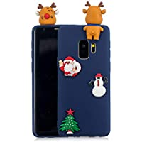 Für Samsung Galaxy S9 Plus Weihnachten Series Fall Abdeckung, HengJun Weihnachten Slim Soft Silikon Fall 3D Kreative Mode Coole Cartoon Nette Shockproof Gummi Fall für Samsung Galaxy S9 Plus - Hirsch & Weihnachtsmann Blau