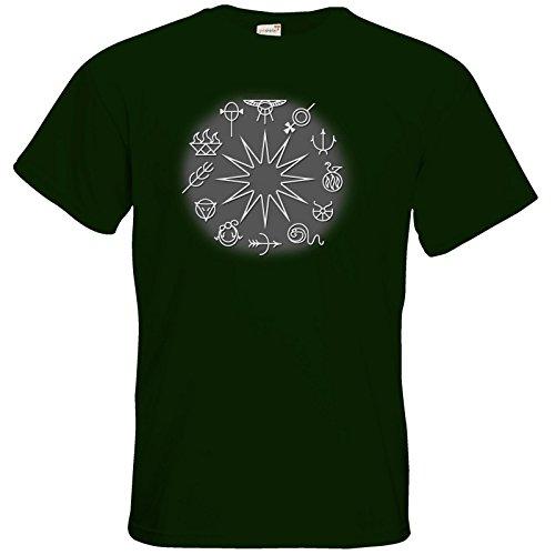 getshirts - Das Schwarze Auge - T-Shirt - Götter - Symbole - Zwölfgötterkreis Bottle Green
