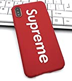 WRAP Coque iPhone 10 X Supreme Jordan Air Rouge Logo Plastique rigide Rouge et Blanc