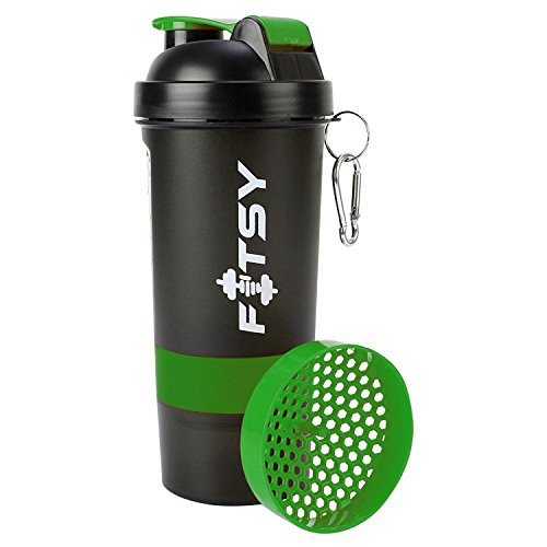 FITSY® 500 Ml Protein Shaker Gym Bottle With 2 Storage Compartments Cups