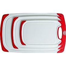 CC Boards Conjunto de tabla para cortar antideslizante de 3 piezas: Ranuras para jugos y mangos antideslizantes; apta para el lavavajillas.