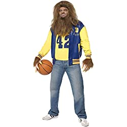 Smiffys Men's Teen Wolf Costume, Jacket, Vest, Gloves, Wig & Beard, Size: M, Color: Blue and Yellow, 35047