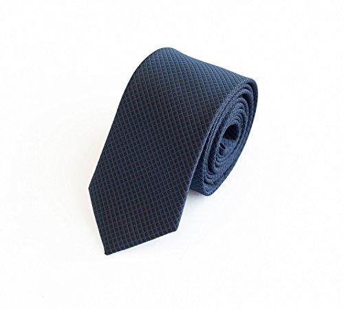 Fabio Farini elegante 6 cm Krawatte, für jeden Anlass, fein kariert durch schwarz, blaue Streifen (Krawatte Streifen Krawatte Schwarzer)